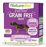 PUPPY - CHICKEN & LAMB, CARROT, POTATO & PARSNIP. Complete and balanced nutrition - drinking water should be available at all times and chewing/gnawing items made available for dental hygiene. Certified holistic and naturally moist dog food Wheat, Gr...