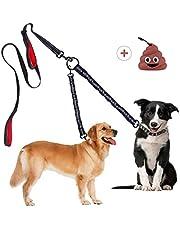 Plomo Doble para Perros Correa 360° Sin Enredo, Correa Desacoplable Multifuncional para 1 o 2 Perros, Reflexivo Bungee Absorbe Impactos, para Dos Perros de hasta 50 kg con 2 Asas Acolchadas Cómodas