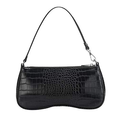 JW PEI 90s Shoulder Bag for Women Vegan Leather Crocodile Purse Mini Clutch Bag Trendy (Black)