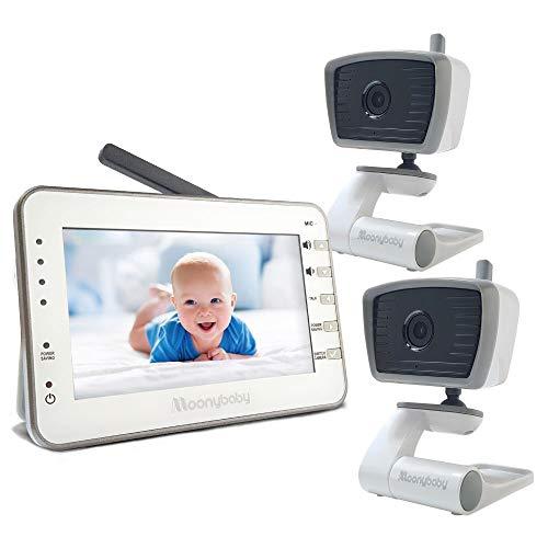 moonybaby Video-Babyphone mit 2 Kameras, 4,3-Zoll-Großbildschirm, automatische Nachtsicht, Temperaturüberwachung, 2-Wege-Talkback, lange Akkulaufzeit