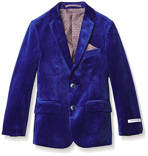 Isaac Mizrahi Boys' Slim Fit Velvet Blazer, Cobalt Blue, 18