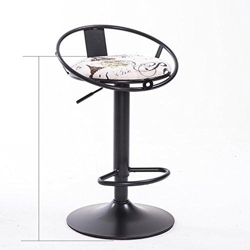 Guo shop- Chaise chaise de fer rétro pivotant bar chaise fauteuil, Chaise de restaurant créative à manger chaise, coussin de lin en coton Bonne chaise