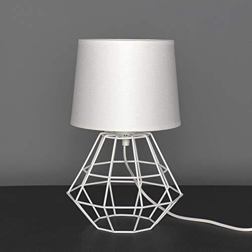 Tischleuchte Weiß Stoff Schirm Metall Drahtgestell Framed Design Geometrisch Rahmenleuchte E27 Nachttischlampe Beistelllampe Tischlampe