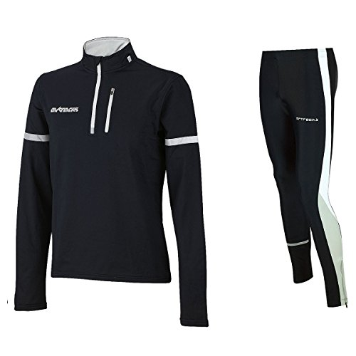 Airtracks Winter Funktions Laufset Pro/Thermo Laufhose Lang + Thermo Shirt Langarm - schwarz - S