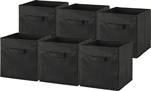 6 Pack  SimpleHouseware Foldable Cube Storage Bin Black