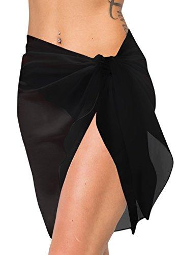 LA LEELA Schal für die Gesichtsbedeckung Schiere Chiffon Normallack Pareo Strand Schwimmen Kurze Sarong Wickeln eine Größe: Länge: 72