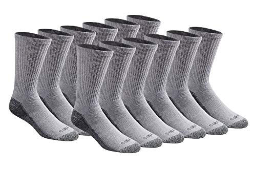 Dickies Men's Multi-Pack Dri-Tech Moisture Control Crew Socks, Gray (12 Pair), Shoe Size: 6-12