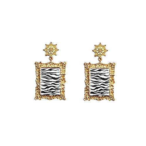 Cebra Tigre Leopardo Jirafa Animal exótico Estampado artesanal Joyería Retro Mandala Gota Rectángulo Pendientes colgantes 8