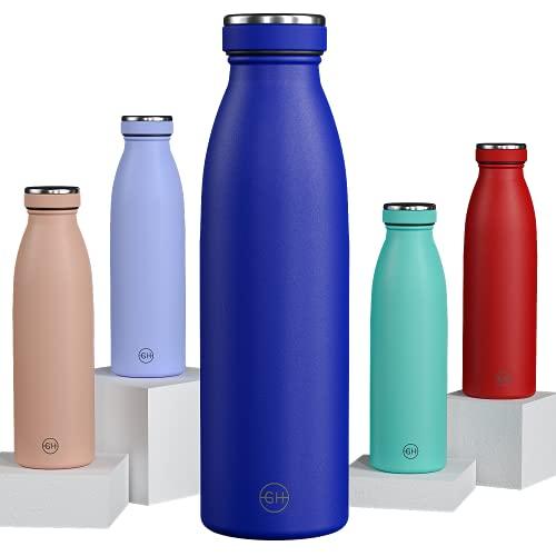 GH Botella de Agua acero Inoxidable 500ml Azul Real | Frasco de Agua de Metal Reutilizable | Botella Termica Doble pared al vacío | Botella de bebida reutilizable Sin BPA, Antigoteo y Prueba d