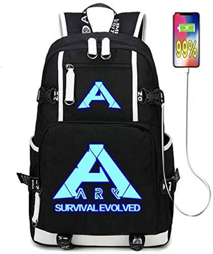 Telacos Anime-Rucksack, Cosplay-Fans, Animations-Peripherieprodukte, Geschenk, GBTE-NUFV Ark Survival Evolved USB-Ladeanschluss, schwarzer Oxford-Rucksack, Sporttasche (#2 leuchtend)