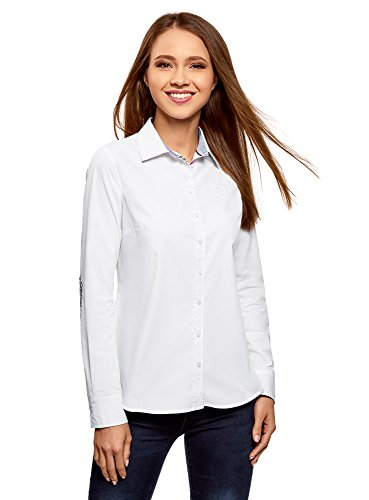 oodji Ultra Mujer Camisa de Algodón Recta, Blanco, ES 38 / S