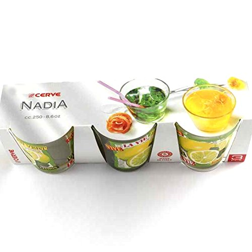 Cerve Nadia Lot de 3 verres à eau boisson cocktail 25 cl Made in Italy Ligne NADIA jaune citron