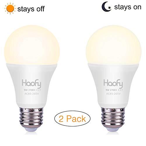 Dusk to Dawn gloeilamp, Haofy 9W (equivalent van 80 watt) Slimme sensor LED-gloeilamp, 3000K E26 / E27 automatische aan / uit led-lamp buiten / binnen voor veranda Garage Patio (warm wit, 2 stuks)