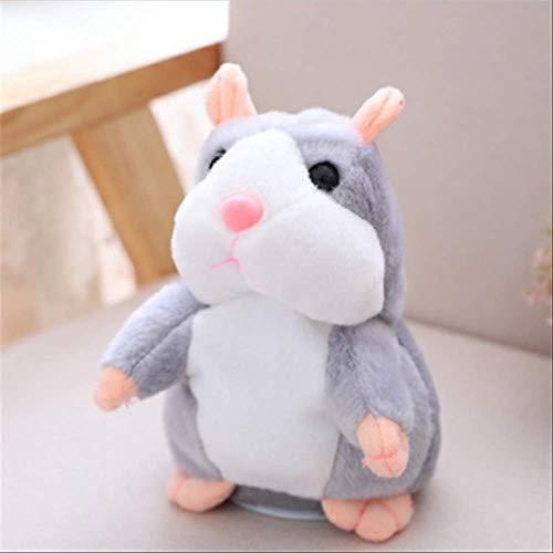 Sprechende Hamster Maus Haustier Plüsch Spielzeug Weiche Tiere sprechen Klangaufzeichnung Hamster Pädagogisches Spielzeug für Kinder Geschenke 16cm Dunkelbraun Laimi (Color : Gray, Size : 16cm)