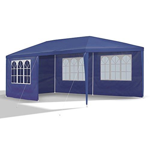 JOM Gartenpavillon 3 x 6 m, blau, Pavillon, Pavillion, Partyzelt, Festzelt, Gartenzelt, mit 6 Seitenwänden 110G PE
