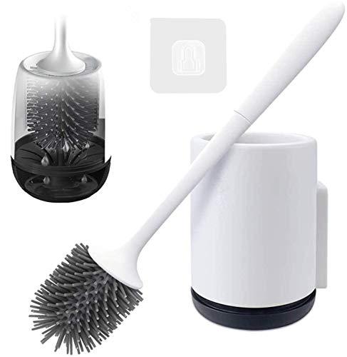 RIGHTWELL Scopini e Porta Scopini Scopino Bagno per WC in Silicone, Scopino Asciugatura Rapida Morbido Scopino per la Pulizia della Toilette - Supporta Sia a Pavimento Che a Parete