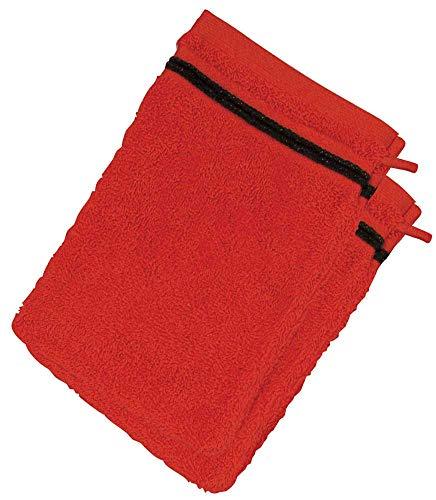 Lot de 2 Gants de Toilette 100% Coton - 550 grS/m2 Rouge avec Liserets Noir