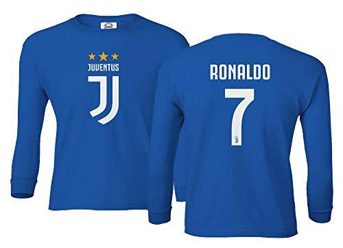 Spark Apparel Soccer Shirt #7 Cristiano Ronaldo Juve CR7 Boys Girls Youth Long Sleeve T-Shirt (Royal, Youth X-Large)