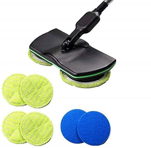 RQUEN Balai à franges électrique 3 en 1 avec poignée sans fil pour toutes les surfaces, polisseuse sèche et humide avec 4 tampons en microfibre et 2 tampons de polissage