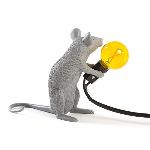 Seletti Mouse Lamp Sitzend Mausförmige Lampe Grau 220 Volt
