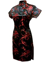 7Fairy Women's Black&Red Floral Mini Chinese Evening Dress Cheongsam Size 12 US