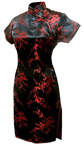 7Fairy Women's Black&Red Floral Mini Chinese Evening Dress Cheongsam Size 16 US