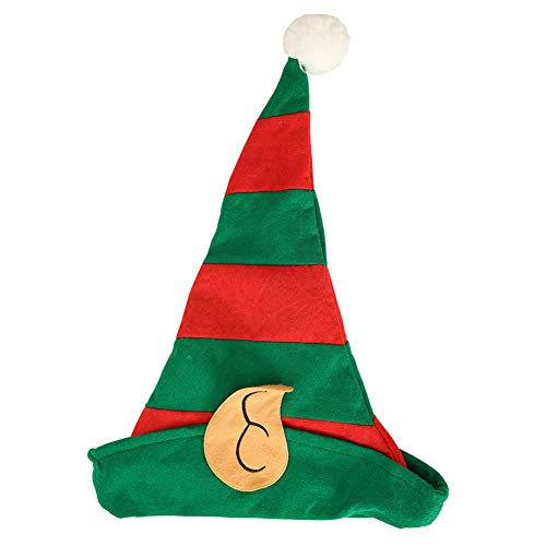 Tiyila Weihnachtselfe Hut Rot und Grün Gestreift Party Stirnband Nicht Gewebt Gold samt Santa Hut mit Ohren Party Weihnachten Kopfbedeckung - H02
