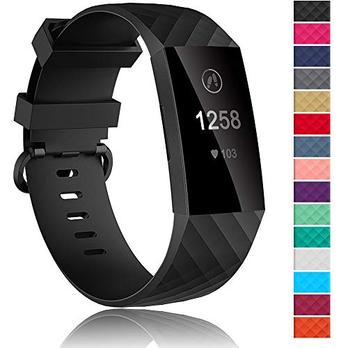 Velavior Waterproof Bands for Fitbit Charge 3 / Charge3 SE, Replacement Wristbands for Women Men Small Large (Black, Large)