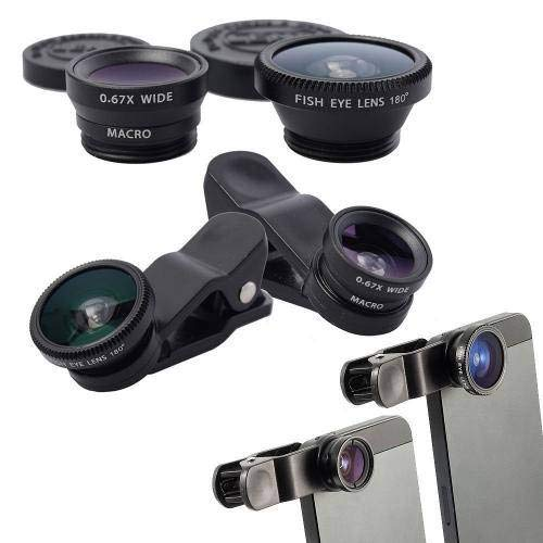 Kit Lentes Olho Peixe Fish Smartphone Celular Eye Macro Wide