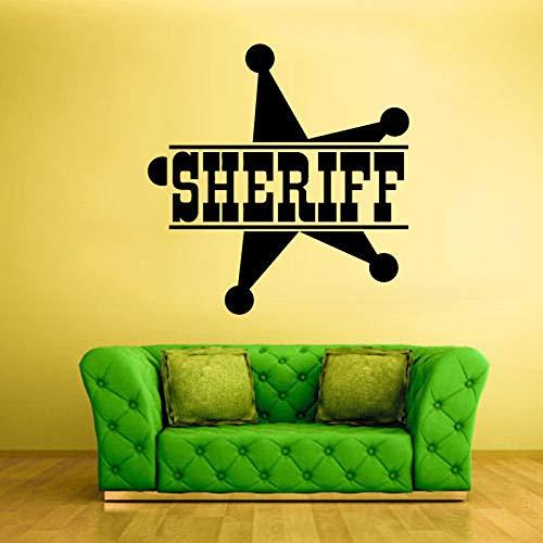 yaoxingfu Sheriff Zeichen Stern Worte Symbol Polizei Wandaufkleber Für Wohnzimmer Kunst Dekoration Vinyl Wandtattoos Schlafzimmer Home Murals weiß 57X57 cm