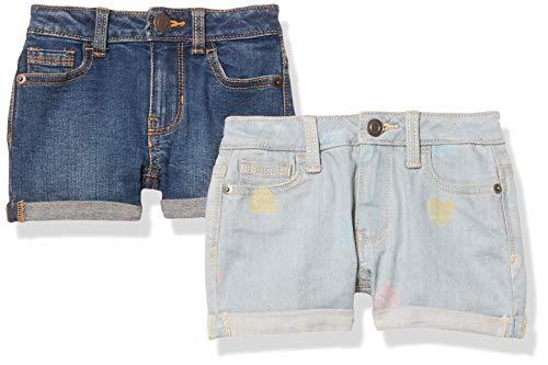 Amazon Essentials 2-Pack Girls Denim Jean Shorts, Hearts/Dark Wash, 116-122, 2er-Pack