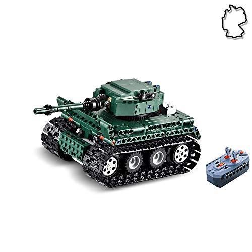 HSP Himoto 2.4GHz RC Ferngesteuerter Klemmbausteine Panzer German Tiger I aus Bausteine/Steckbausatz zum Selberbauen Basteln,Komplett-Set