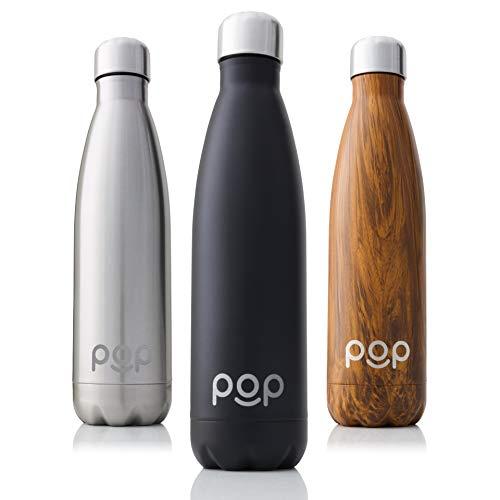 POP Design Botella de Agua, Mantiene Bebidas frías por 24h y Calientes por 12h, Acero Inoxidable con Aislamiento en vacío, Tapón Anti Goteo y Anti Sudor, 500 ML, Onyx