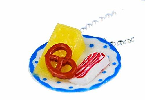 Miniblings Oktoberfest Brotzeit Teller Brezel Käse Schinken Halskette Kette 80cm