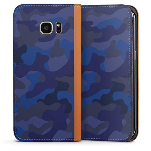 DeinDesign Klapphülle kompatibel mit Samsung Galaxy S7 Edge Flip Case Handyhülle aus Leder karamell Camouflage Bundeswehr Men Style