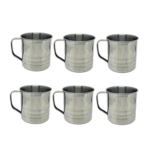 6 Pack 16oz Unbreakable Stainless Steel Camping Coffee Mug Drinking Soup Cup,16 Ounce each