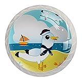 Sailor Gaviota en la playa Perillas de cristal para armario, pomos de armario, tiradores de gabinete (4 piezas)