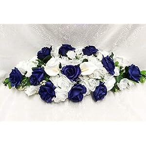 Floral Décor Supplies for Custom Swag Artificial Fake Wedding Silk Flowers Chuppah Arch Centerpiece Gazebo for DIY Flower Arrangement Decorations – Color is Blue