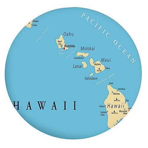 Mantel ajustable de poliéster con bordes elásticos, diseño de mapa de las islas de Hawái con borde capital, Honolulu, para mesas redondas de 56 a 60 pulgadas, protección para tu mesa.