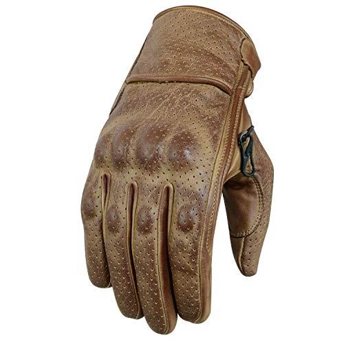 Motorradhandschuhe , Leder Motorradhandschuhen, Chopper Vintage Leder Handschuhe (S, Braun)