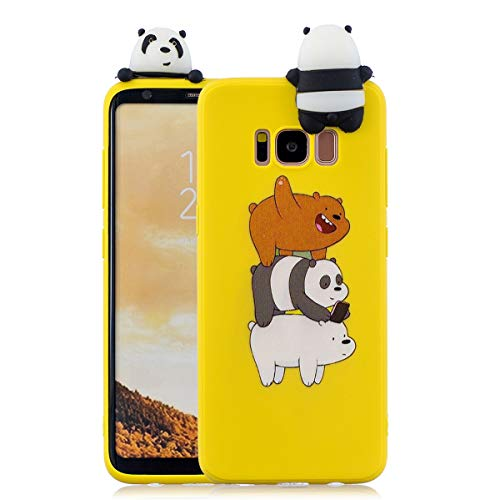 WUBAOUK 3D Cartoon Hülle Kompatibel mit Samsung S8, Cute Animal Bear family Design Soft TPU Rubber Bumper Slim Silicone Hülle Candy Color Skin Back Cover