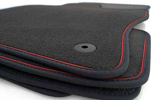 kh Teile Fußmatten passend Leon 5F ST RS Cupra Velours Nubuk Premium Automatten (4.tlg) Rotes Band