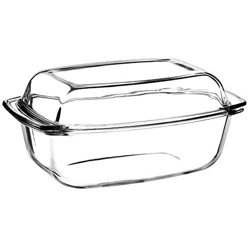 KADAX Auflaufform aus hitzebeständigem Glas, 5.1L, rechteckiges Gefäß für Fleisch, Lasagne, Geschirr mit Deckel und Griffen, Glasbräter zum Braten, Backofen, spülmaschinenfest