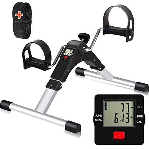 ADDFIT Pedal Exerciser, Stationary Pedal Exerciser for Arm/Leg Workout, Under Desk Bike Pedal Exerciser with LCD Display