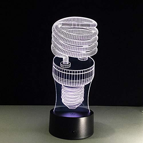 3D-Illusionslampe LED-Nachtlicht Energiesparende Spiralbirne 7 Farbige visuelle Nachtlichter für Kinder USB-Touch-Nachtlicht für Ausstellungszelt