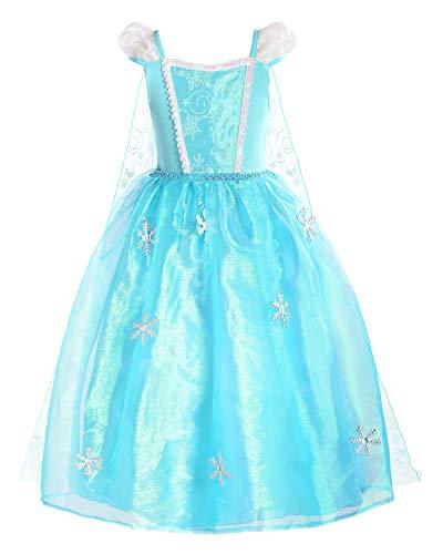 ReliBeauty Mädchen Kleid ELSA Prinzessin Eiskönigin Schneeflocke Organdie Kostüm mit Schleppe, Blau(Kurzarm), 135-140(Etikett 140)