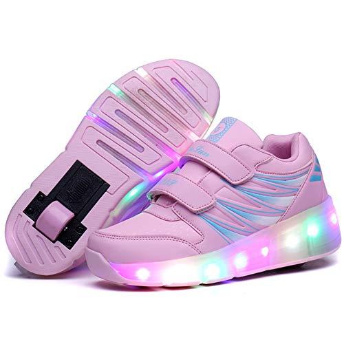 Zapatillas con Ruedas 7 Colores LED Luces Luminosas Zapatos Ajustable Ruedas Patines Deportes al Aire Libre Gimnasia Zapatillas de Skateboard para Niños y niña Los Mejores Regalos