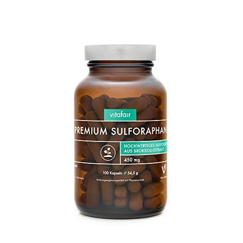 Sulforaphan - 45mg pro Tagesdosis - 100 Kapseln - Hochdosiert aus 450mg Brokkoli-Extrakt - Vegan - Ohne Magnesiumstearat - Made in Germany