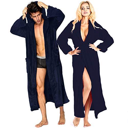 ABSTRACT Albornoz de lujo con capucha 100% algodón egipcio | Unisex | Toalla de rizo | Gimnasio de noche Ducha Spa | 2 bolsillos de parche | Cinturón de toalla (azul marino, pequeño/mediano)