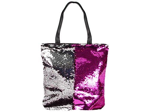 Pailletten Shopper Tasche Geräumige Strandtasche mit Wendepailletten 37 cm x 34 cm mit Reißverschluss Shopperbag Tragetasche Schultertasche von Alsino, Variante wählen:TT-P01 Fuchsia Silber